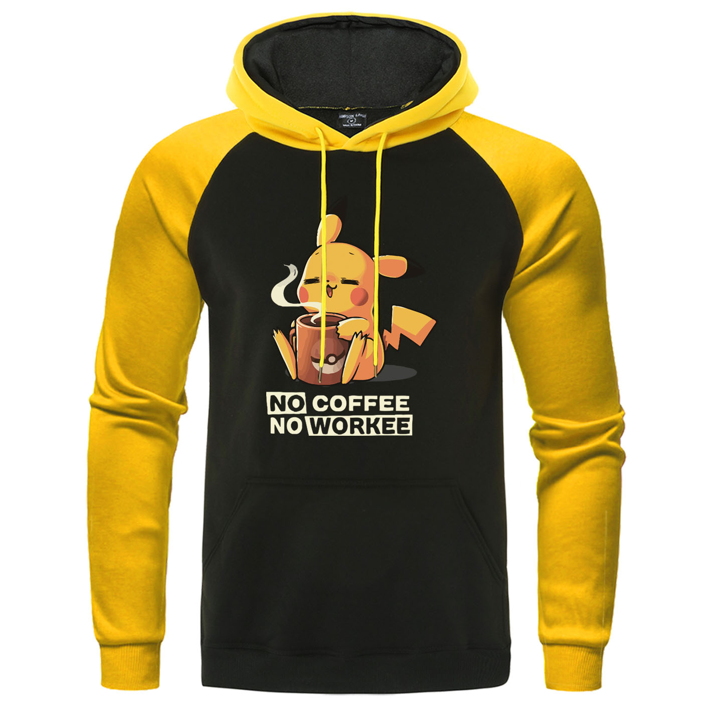NO COFFEE NO WORKEE Hoodies Pikachu Pokemon Sweatshirt Casual Mens Anime Pullover Funny Raglan Men Hoodie Harajuku Streetwear