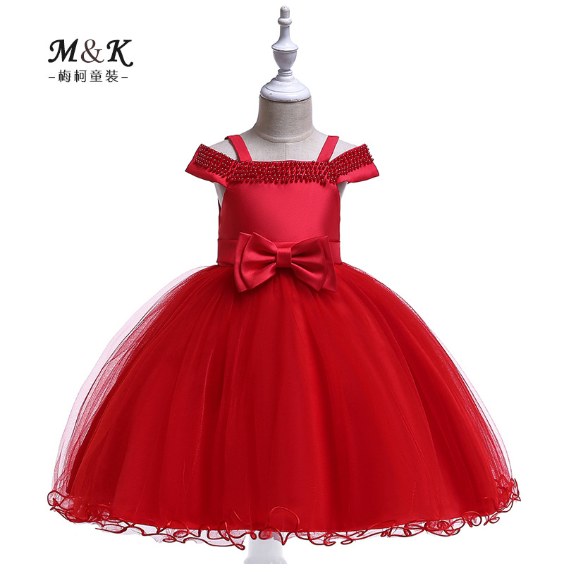 2019 New Style Big Boy Camisole Formal Dress Off-the-Shoulder Beaded Bowknot Wedding Dress Red New Year Princess Skirt