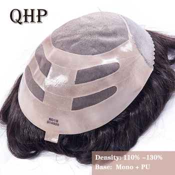 Mens Toupee Wig Replacement Systems Hairpiece Mono Lace With Thin PU 8x10 Natural Remy Indian Human Hair Handmade bymc fine mono mens 100% grey human hair toupee for men hairpiece remy indian hair mens wig replacements soft natural looking