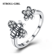 Strollgirl Authentic 925 Sterling Silver Lovely Animal little Bee ring Open Size Finger Rings for Women Jewelry