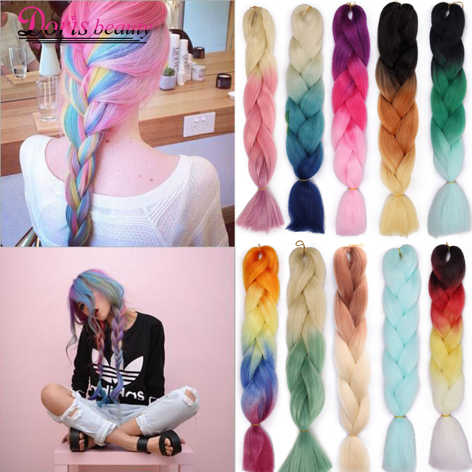 Doris Beauty Ombre Jumbo Braids Synthetic Braiding Hair Crochet Braid 100g 24inch Hair Extension Pink Blue Green For Women