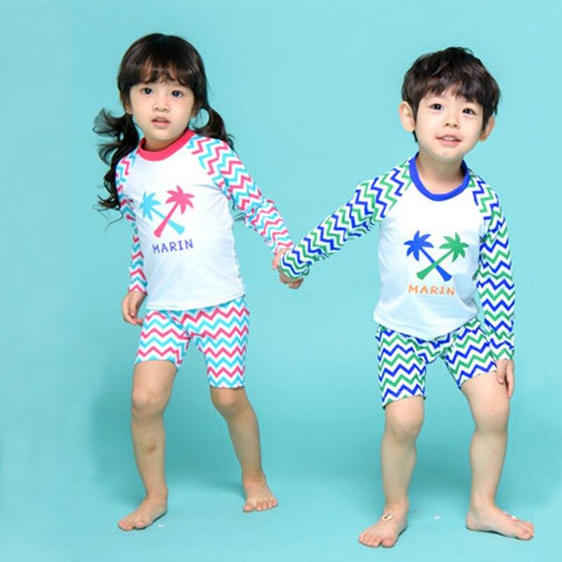 KID'S Swimwear Coconut Trees Printed BOY'S Girls Swimwear Split Type Boxer Two Piece Set Long Sleeve Siblings Swimwear