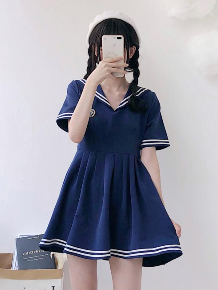 Girl Lovely 2019 Spring New Korean Academy Wind Japanese School Uniform Short Sleeve Navy Collar Doll Anime Sailor Navy Suit S/M