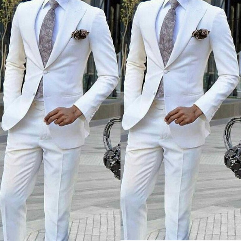 White Formal Mens Suits For Wedding Two Pieces Groomsmen Tuxedos Men Blazers Prom/Party/Business Wears(Jacket+Pant)