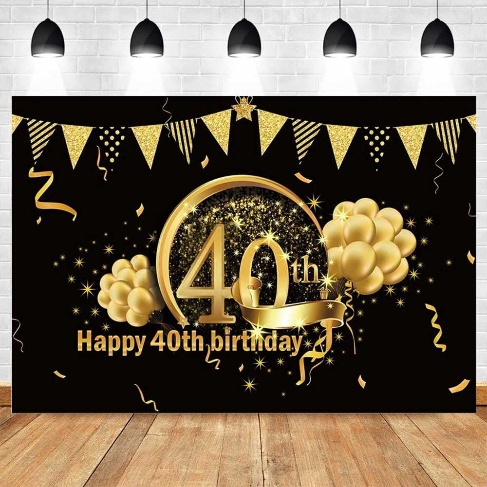 15x10ft Vinyl Photography Backdrop Happy 40th Birthday Golden Words Diamond Sequins on Black Background 40 Years Old Birthday Party Decorations Photo Studio