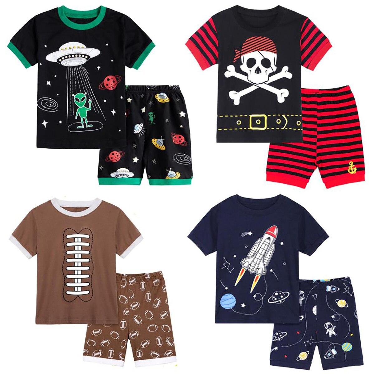 Kids Boy Pirate Shark Excavator Bulldozer Truck Train Pyjamas Set Toddler Spaceship Lorry Pajamas Children Animal Sleepwear