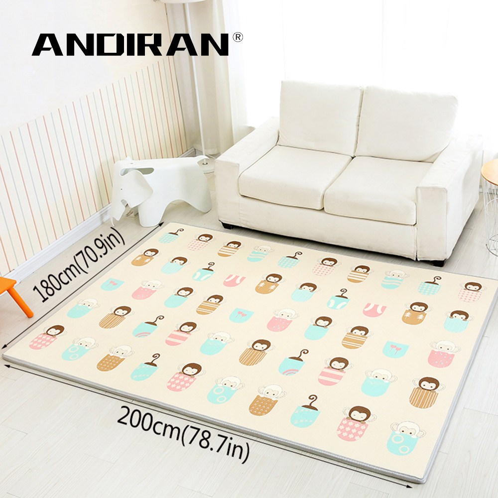 Andiran Play Mat Non Slip Baby Mat XPE Foam Mat Whole 200*180(78.7*70.9in) >3M Thick 2CM Kids Rug For Room Home School