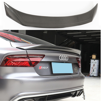 Carbon Fiber CAR REAR WING TRUNK LIP SPOILER FOR AUDI A7 S7 RS7 2013 2014 2015 2016 (karztec Style) a5 coupe carbon fiber spoiler s5 style for audi 2010 2011 2012 2013 2014 2015 2016 a5 rear bumper spoiler trunk wing styling