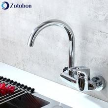 Kitchen Faucet Bend Taps Sink Basin Deck-Mounted Rotation-Mixer Brass Cold Hot ZOTOBON