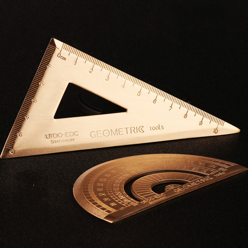 Brass Triangle Ruler Retro Semicircle Protractor Triangle Plate Drawing Copper Ruler Office School Supplies Drafting Tools