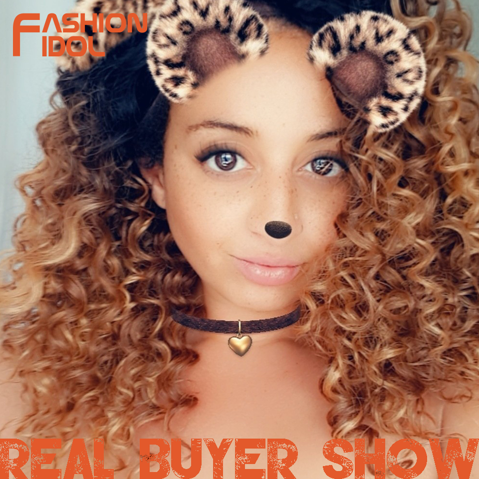 FASHION IDOL Afro Kinky Curly Wigs For Black Women Heat Resistant Lace Front Wigs Ombre Brown Caramel Colour High Temperature