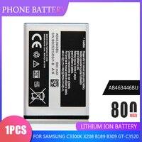 1PC 800mAh AB463446BU AB553446BU baterías para Samsung C3300K X208 B189 B309 GT-C3520 E1228 GT-E2530 E339 GT-E2330 de la batería del teléfono