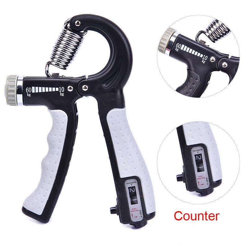 Hot R-Shape Adjustable Countable Hand Grip Strength Exercise Strengthener Gripper Spring Finger Expander