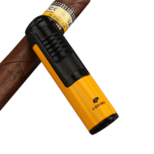COHIBA Mini Metal Cigar Lighter 1 Jet Flame Butane Gas Cigarette Lighter Windproof Refillable Cigar Accessories все цены