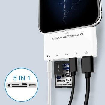 5 em 1 Kits de conexão da câmera do cartão SD TF para Lightning para USB Camera Reader adaptador OTG Cable Para iPhone X 6 7 8 Para Ipad Air 1