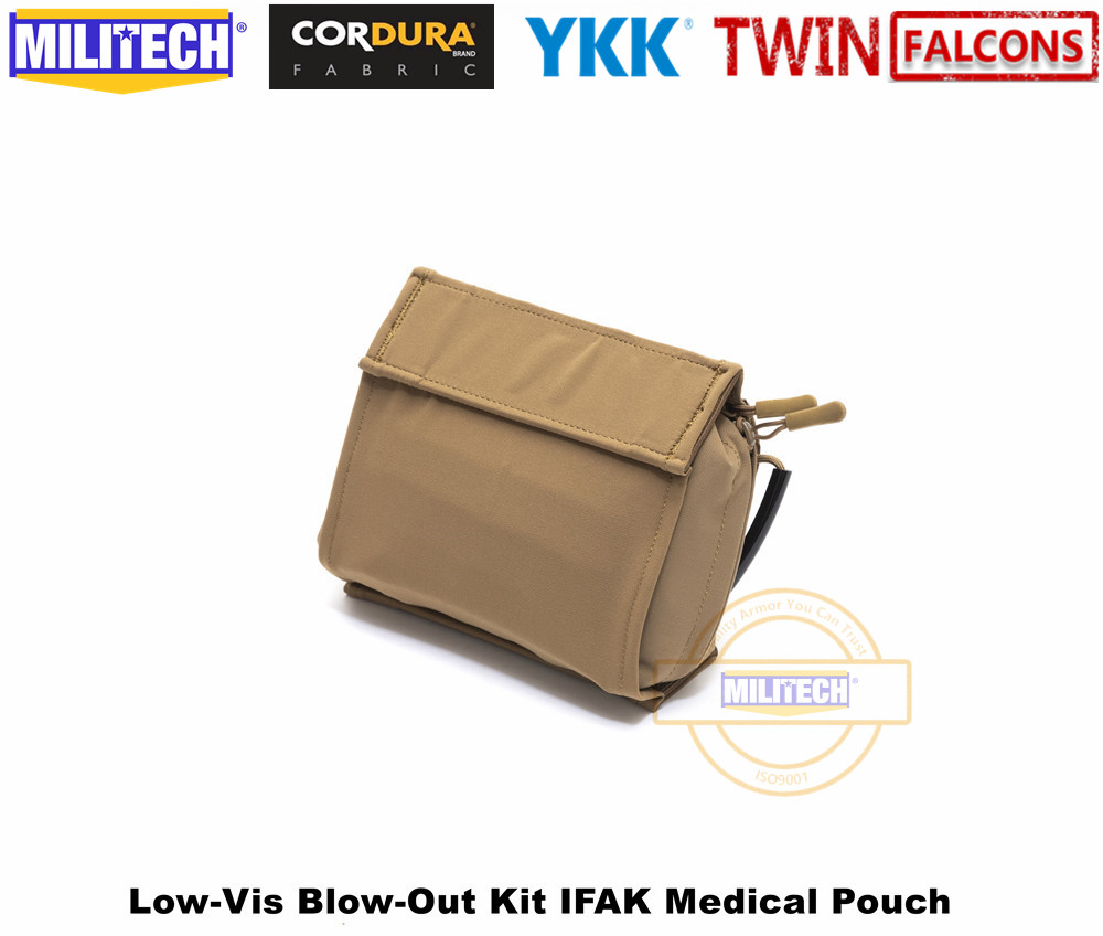 MILITECH TWINFALCONS TW 500D Delustered Cordura Molle Crye CP Low-Vis Blow-Out Kit IFAK Medical Pouch EMT Hunting Camping Pouch
