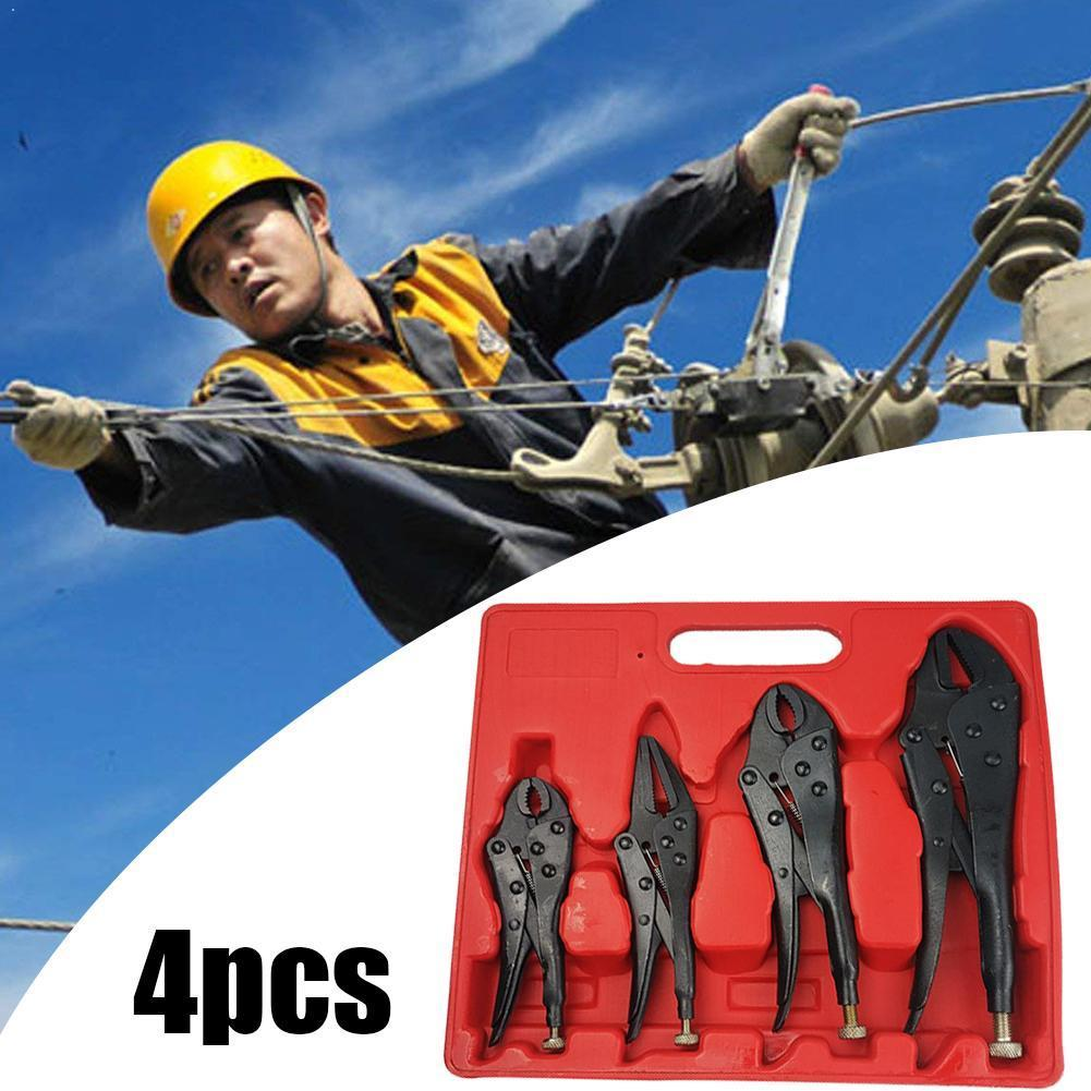 4pcs Locking Pliers Set Black Steel Heavy Duty Curved Vice Welding Nose Pliers Long Tool Jaw Straight Grips Straight M5T6