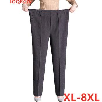 Pantalones de gran tamaño para mujer, pantalón informal, con cintura elástica, de terciopelo, cálido, para invierno, XL-8XL