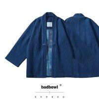 BADBOWL Japanese Casual INDIGO Plant Blue Dyeing Road Robe Heavy Kendo Fabric Retro Kimono Jacket Men's Flanel lhamo Jackets
