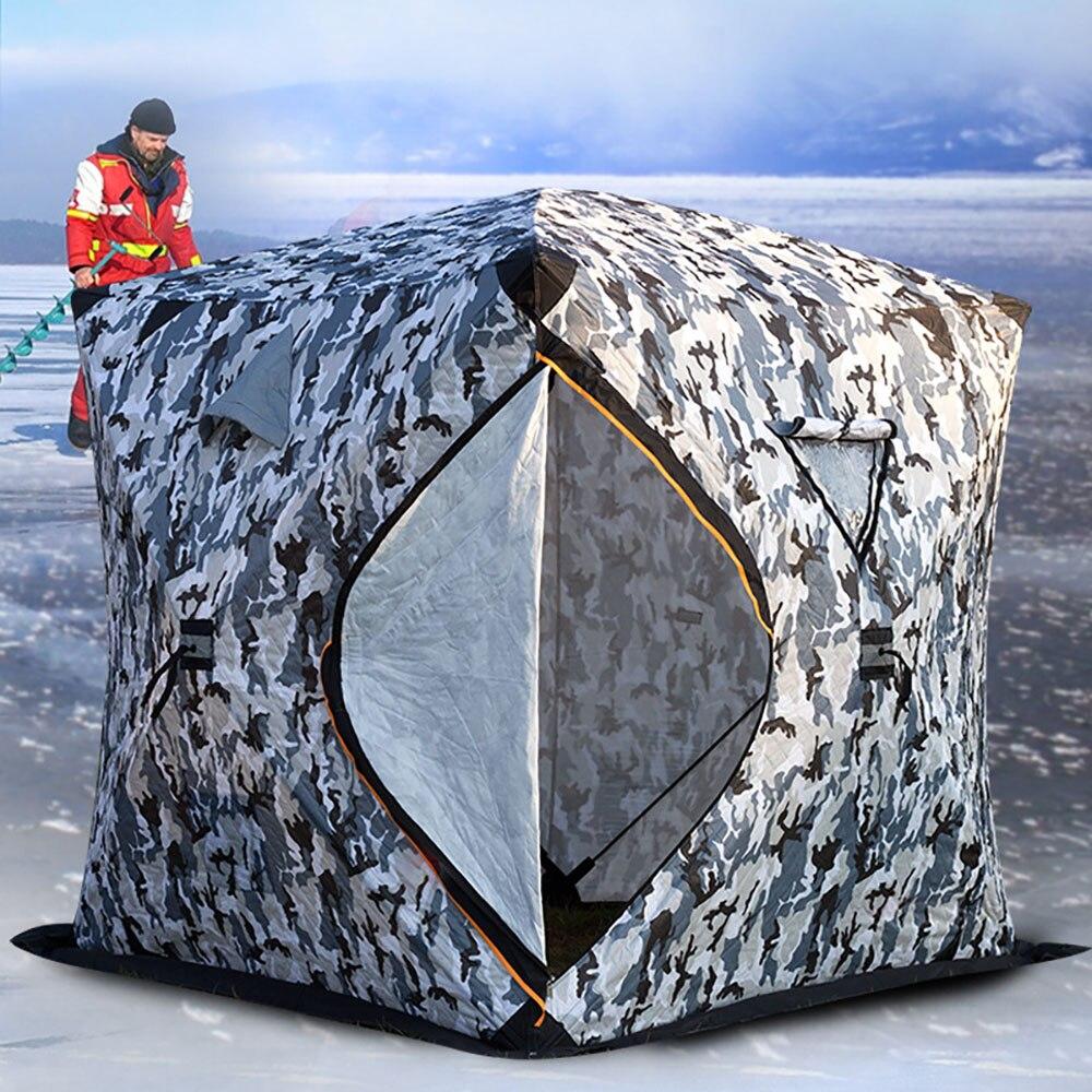 Большая площадь 3-4 человек быстро открывающийся толкатель плюс хлопок теплая зимняя ледяная Рыбалка утолщенная палатка Кемпинг палатка ры...