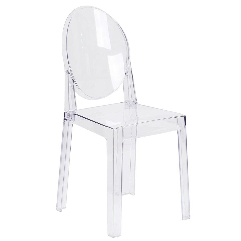 Set of 6 Dining Chairs Transparent Crystal Ghost Chair with Oval Back Modern Makeup Dressing Chair Stackable Garden Chairs Set 8