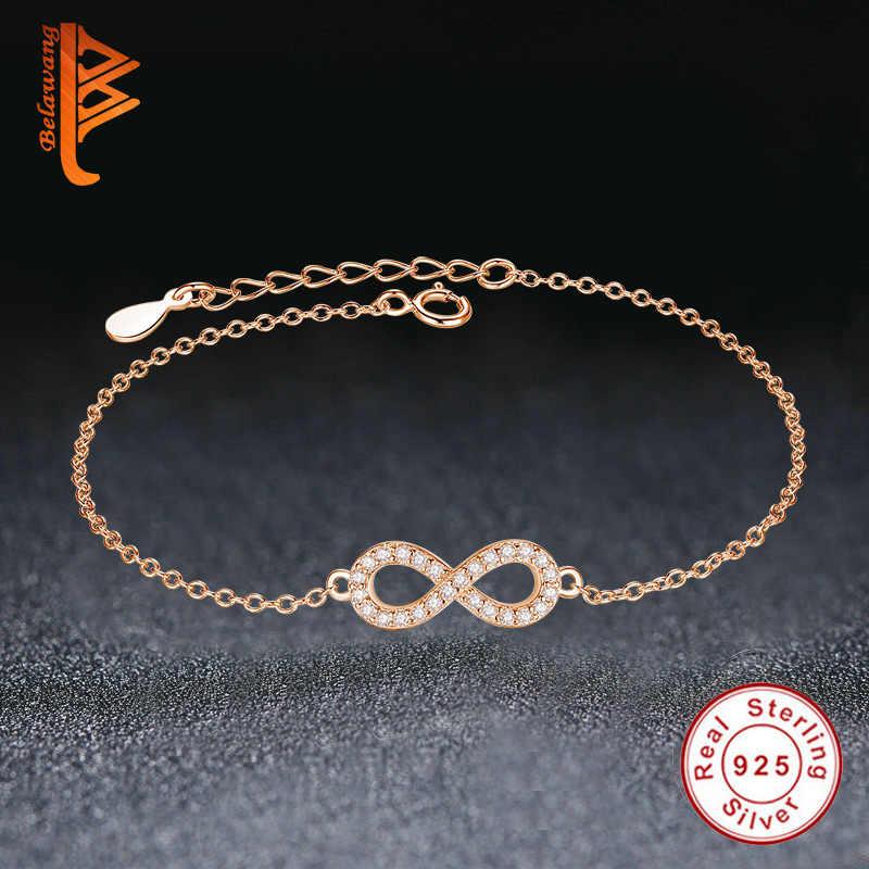 Luksusowe stałe 925 srebro różowe złoto nieskończoność charm bransoletka bransoletka dla kobiet kryształ koraliki bransoletka autentyczne biżuteria