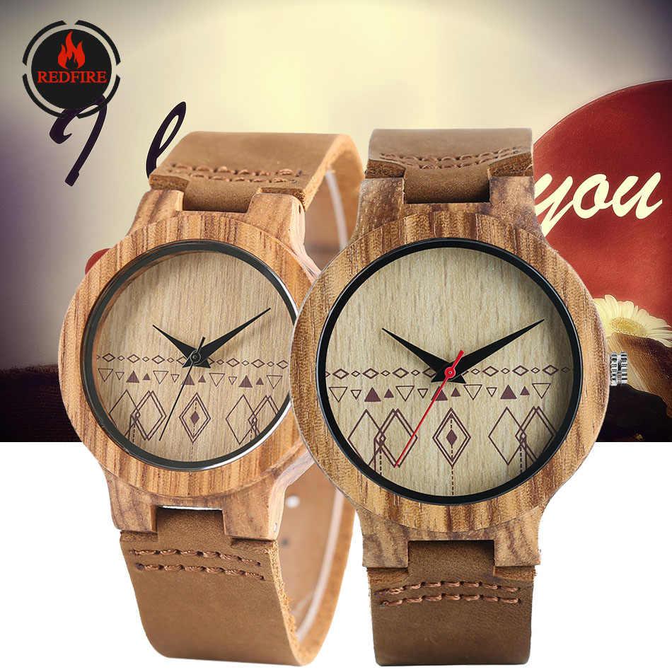 REDFIRE عشاق ساعة خشب الكوارتز ساعة اليد جلد طبيعي ساعات الزوجين relojes دي pareja الزفاف/هدية للذكرى السنوية الخشب على مدار الساعة