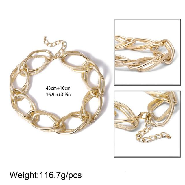 Multi Layered Golden chunky Chain Choker Necklace  6