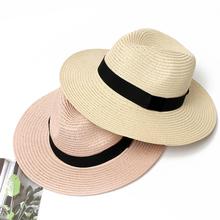 Summer Hat Women Panama Straw Hat Fedora Beach Vacation Wide Brim Visor Casual Summer Sun Hats for Women Sombrero 2020 cheap Adult CM-002 Solid