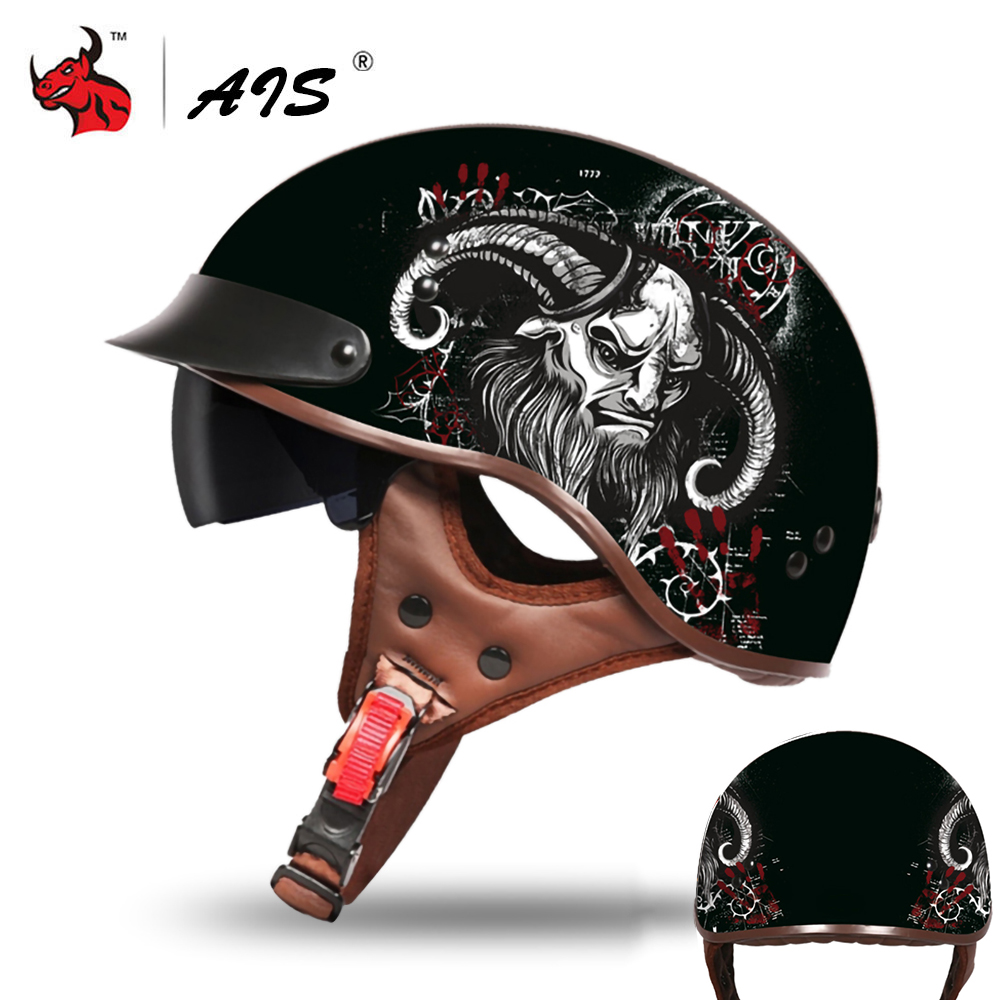 AIS Retro Motorcycle Helmet Summer Open Face Casco Moto Men Women Scooter Moto Helmet Biker Motorbike Racing Riding Helmet
