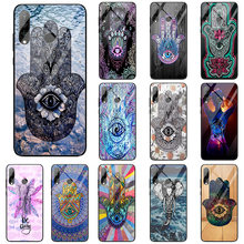 Buddha Hamsa Evil Eye Magic Tempered Glass Phone Cases for Huawei Honor 9 10 6X 8 8A Mate 20 P20 P30 Lite Pro(China)
