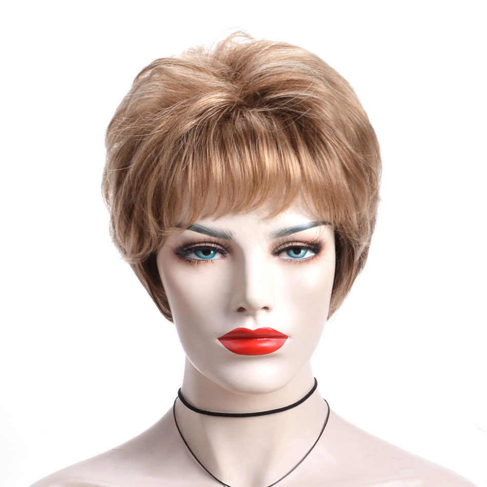 Alizing Kısa Altın Kahverengi Peruk Doğal Dalga Kıvırmak Stil Günlük Bayan Peruk Klasik Kapağı Ofis Lady Sevimli Kısa Sentetik Saç peruk 7213