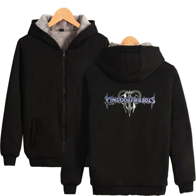 kingdom hearts Zipper Hoodie Men Women New Arrival Winter Warm Thicken Zipper Hoody kingdom hearts Long sleeved Black Sweatshirt