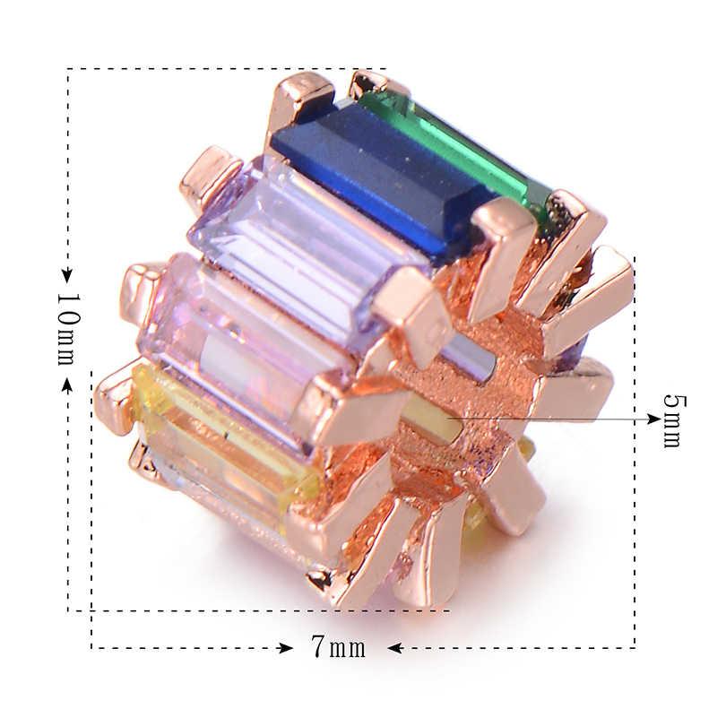 Pipitree Sáng Bóng Công Chúa Cắt Rainbow CZ Zircon Tròn Vòng Tròn Đính Hạt Cho Vòng Tay Vòng Cổ Tự Làm Không Gian Siêu Tốc Hạt Vòng Tay Trang Sức Làm