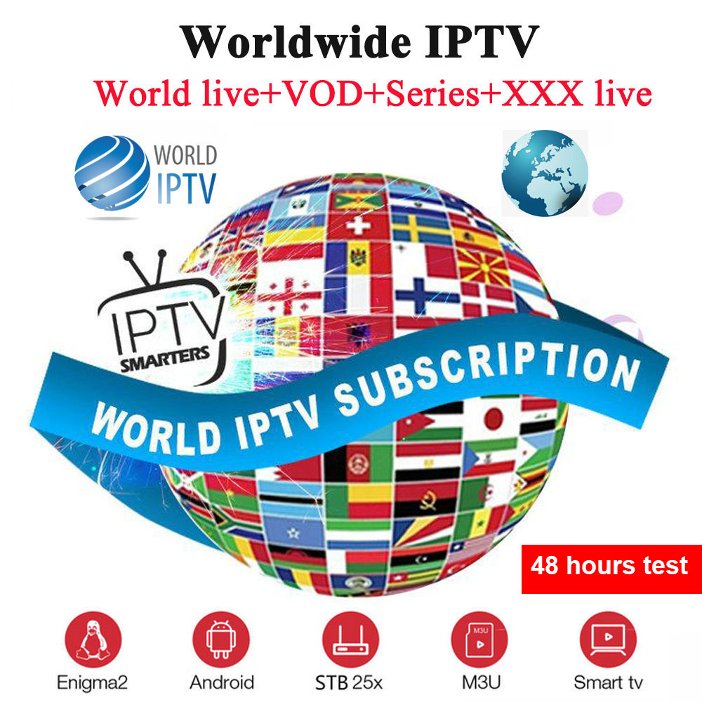 1 Year World IPTV Subscription M3U Subscribe 8000+ Live TV 6000+VOD Spain Arabic French Enigma2 Smart TV Box VLC IPTV Smarters