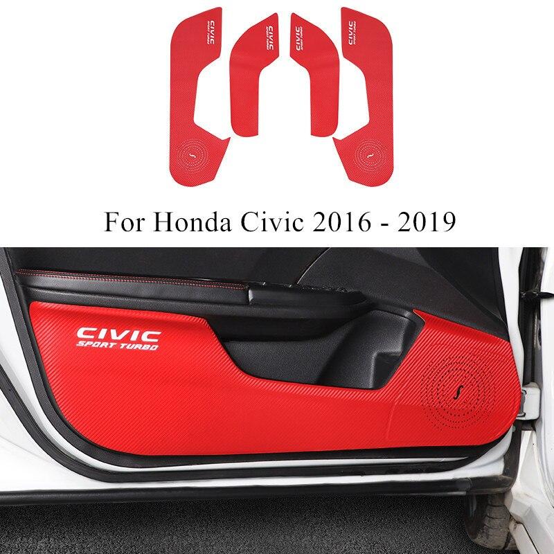 4 sztuk/zestaw drzwi samochodu Anti-kick anti-brudne Pad z włókna węglowego dekorowana ze skóry akcesoria dla Honda Civic 2016 2017 2018 2019
