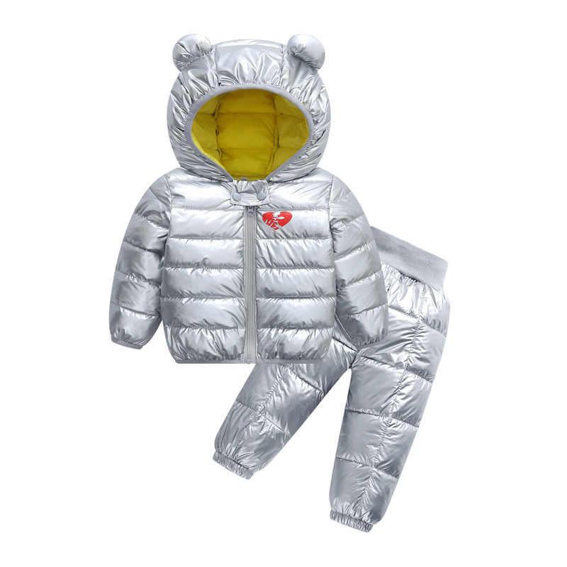 Ropa de invierno para niños cómodo suave abajo y traje de algodón niños niñas abrigo pantalones brillante impermeable a prueba de viento de dos piezas conjuntos