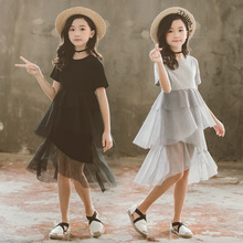 2019 summer girl patchwork gauze dress childrens short sleeve T-shirt