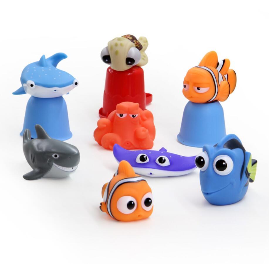 Bébé bain douche jouets trouver poisson Dory flotteur jet deau presser jouets en caoutchouc salle de bain jouer animaux requin bain jouet pour enfants