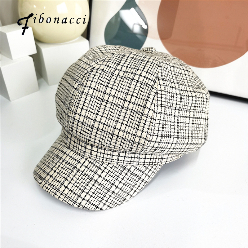 Fibonacci Brand New Hats For Women Fashion Plaid Octagonal Hat Female Vintage Octagonal Cap Spring Travel Cotton Casual  Hat