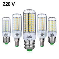 Lámpara LED E27 y E14, bombilla tipo mazorca, lámpara colgante de vela, para decoración del hogar de 220V, 24 36 48 56 69 72LEDs, SMD5730