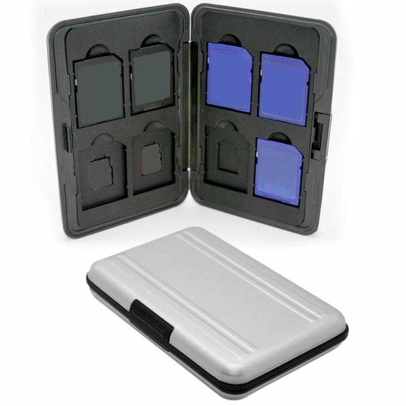 Protable Silver Plastic Memory Card Case 16 Slots (8+8) For Micro SD SD/ SDHC/ SDXC Card Storage Holder New Card Case