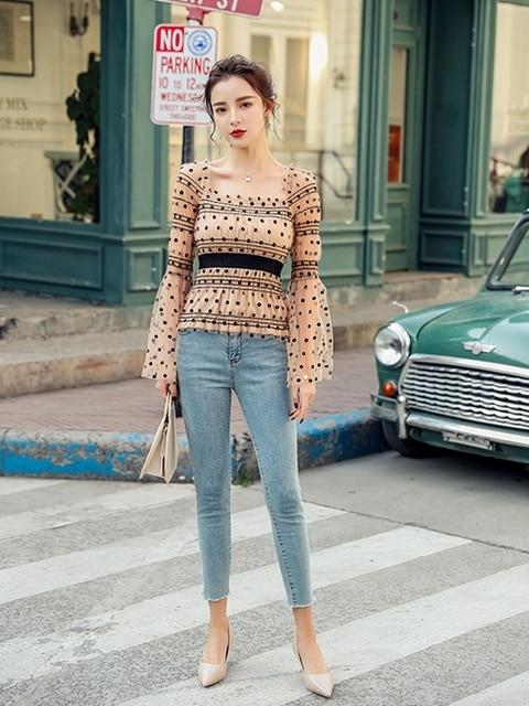 Streetwear Blouse Women Sexy Off Shoulder slash neck Long Sleeve Mesh Shirt Vintage Dot See Through Mesh Casual Tops 2