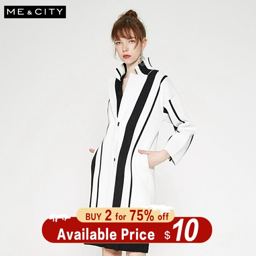 Me&city Knitted Cardigan Sweater Women 2019 Autumn Winter High Street Striped Clothing Fashion Cardigan For Office Lady