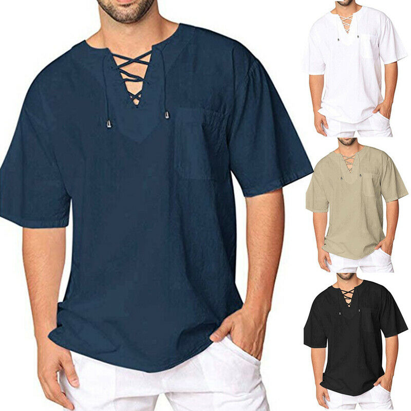 Men's Summer Short Sleeve T-Shirt Thai Hippie Shirt V-Neck Lace Up Beach Holiday Top Festival Causal Tee
