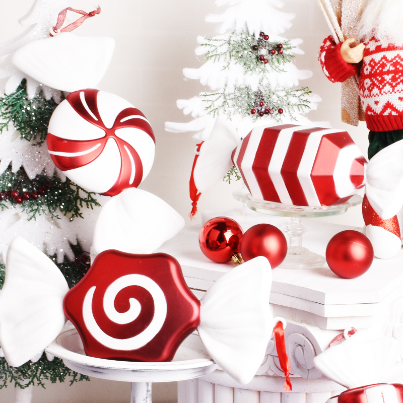 Christmas Decorations Scene Layout Gift Ornaments Pendant DIY Candy 30CM Red And White Color Candy Stage Layout