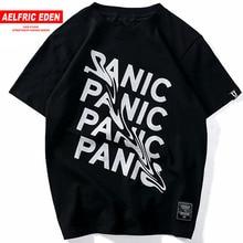 Aelfric Eden Men Panic Tshirt Cotton Streetwear Tops Tees Summer Short Sleeve Bending Creative Letters Hip Hop T shirts Black