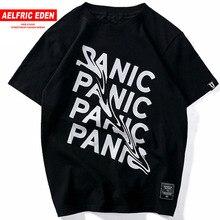 Aelfric Eden Men Panic Tshirtผ้าฝ้ายStreetwear Tops Teesฤดูร้อนแขนสั้นดัดสร้างสรรค์ตัวอักษรHip Hopเสื้อยืดสีดำ