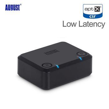 August MR270 Bluetooth Transmitter for TV PC Optical APTX  3.5mm Wireless Bluethooth Audio Adapter for Two Headphones Dual Link