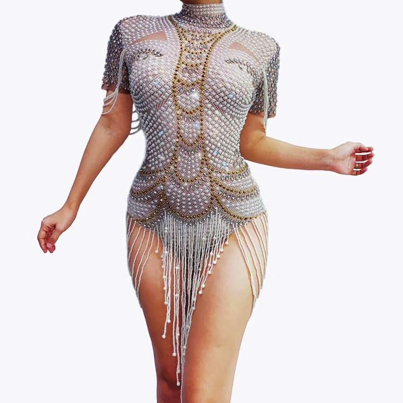 Luxurious Pearl Rhinestones Bodysuit Sexy Performance Female Singer Leotard Stage Wear Birthday Party Stretch Outfit Dance Wear
